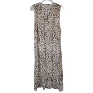 Joie Corrin Leopard Print Silk Hi Lo Dress XL